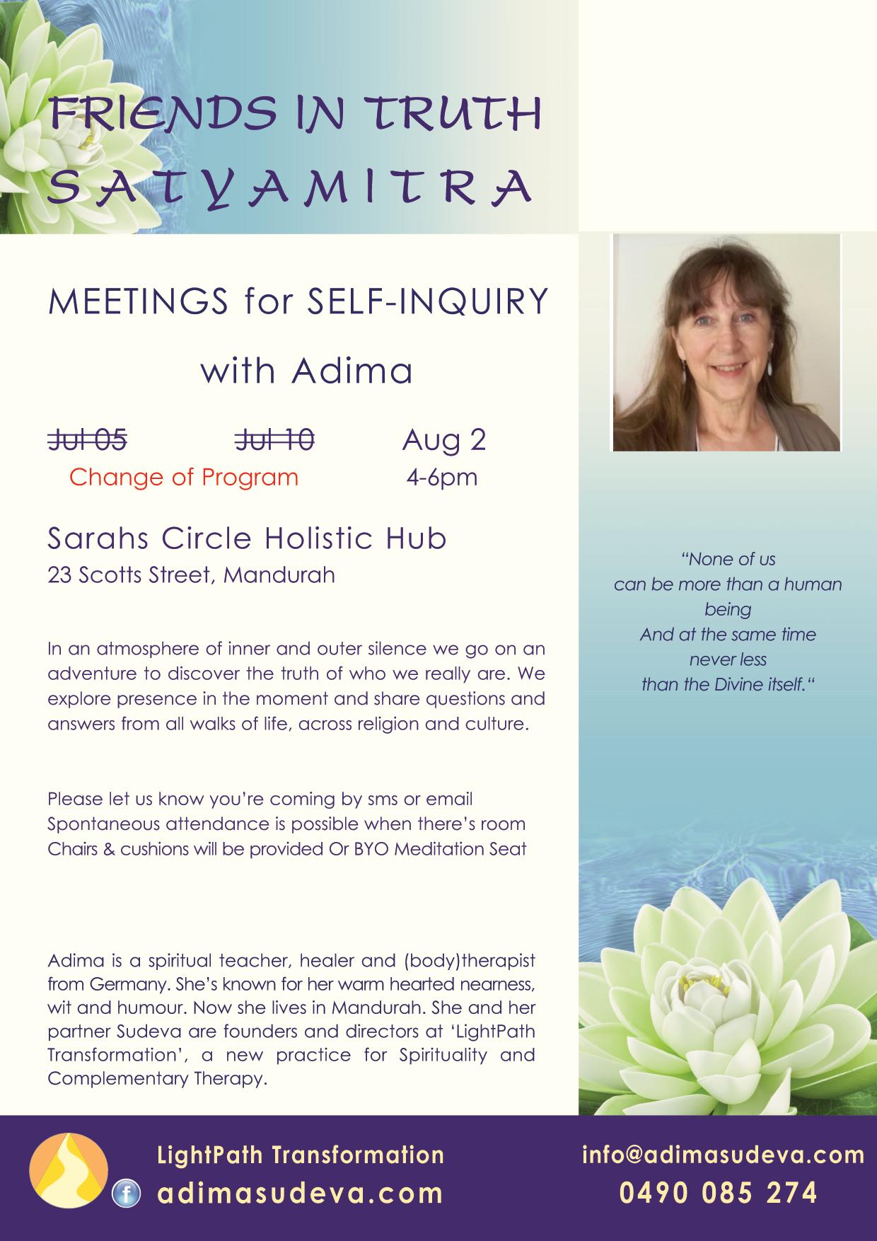 FriendsInTruth-Meetings July/Aug